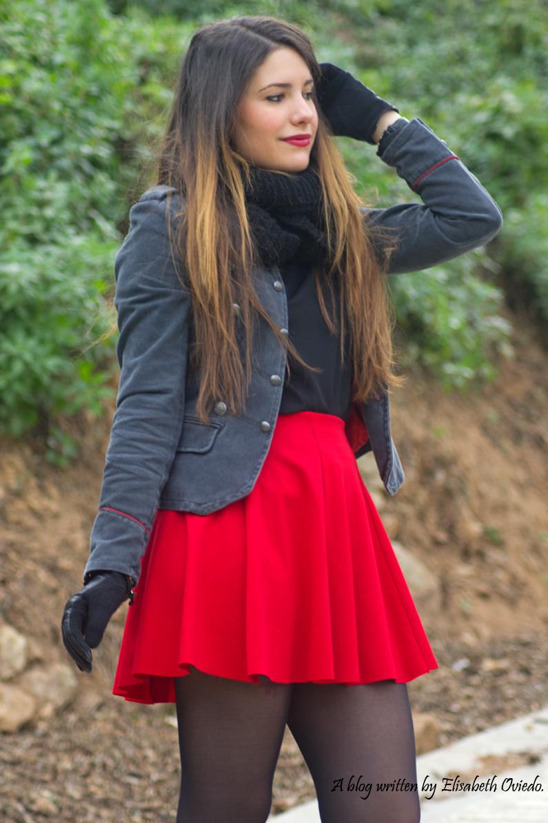 falda roja chaqueta militar mango zara look 2016 HEELSANDROSES (2)