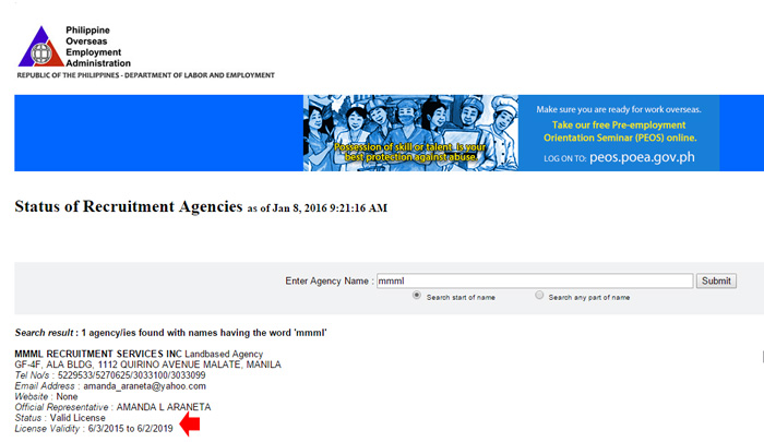 POEA website -1