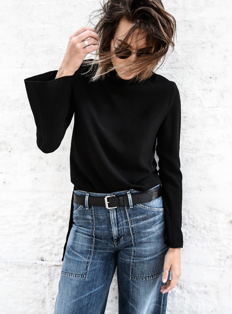 denim wide leg jeans street style Citizens of Humanity Melanie Givenchy Antigona medium street style inspo Stella McCartney loafers minimal Ellery flare sleeve top modern legacy fashion blogger  (3 of 15)