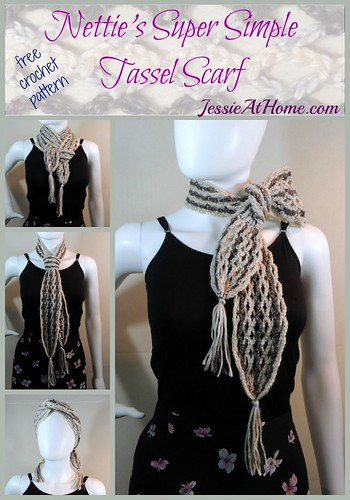 Nettie's Super Simple Tassel Scarf - free crochet pattern by Jessie At Home