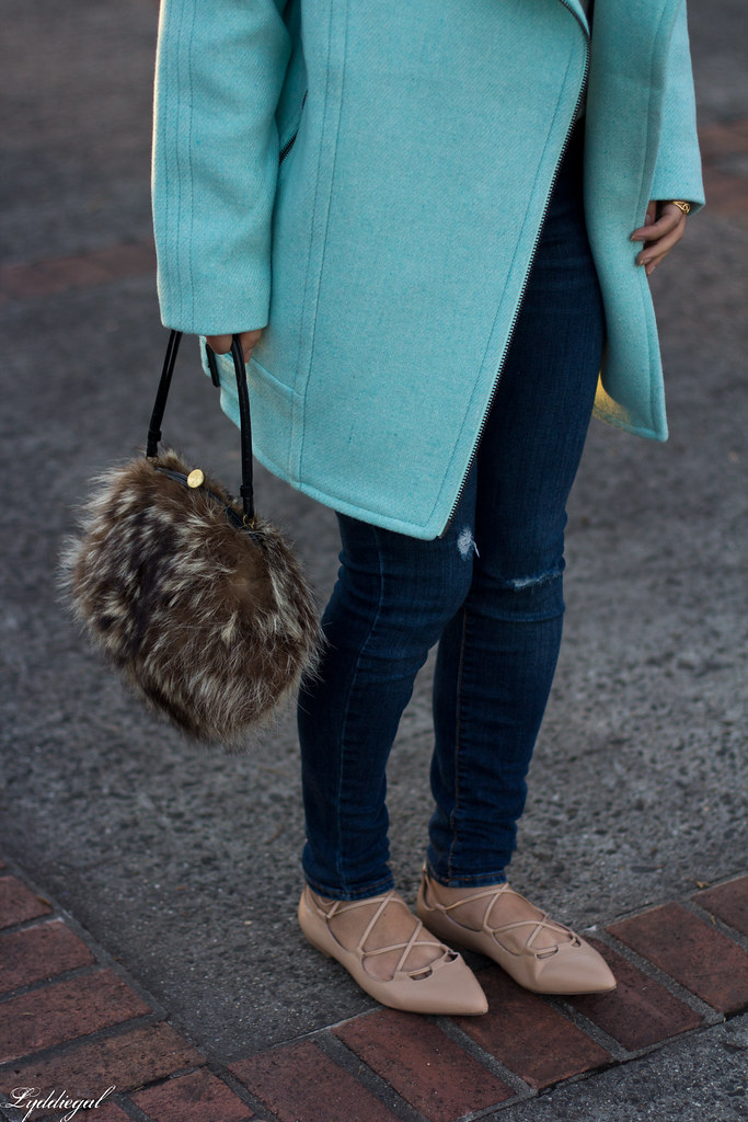mint cocoon coat, white sweater, denim, fur bag-1.jpg
