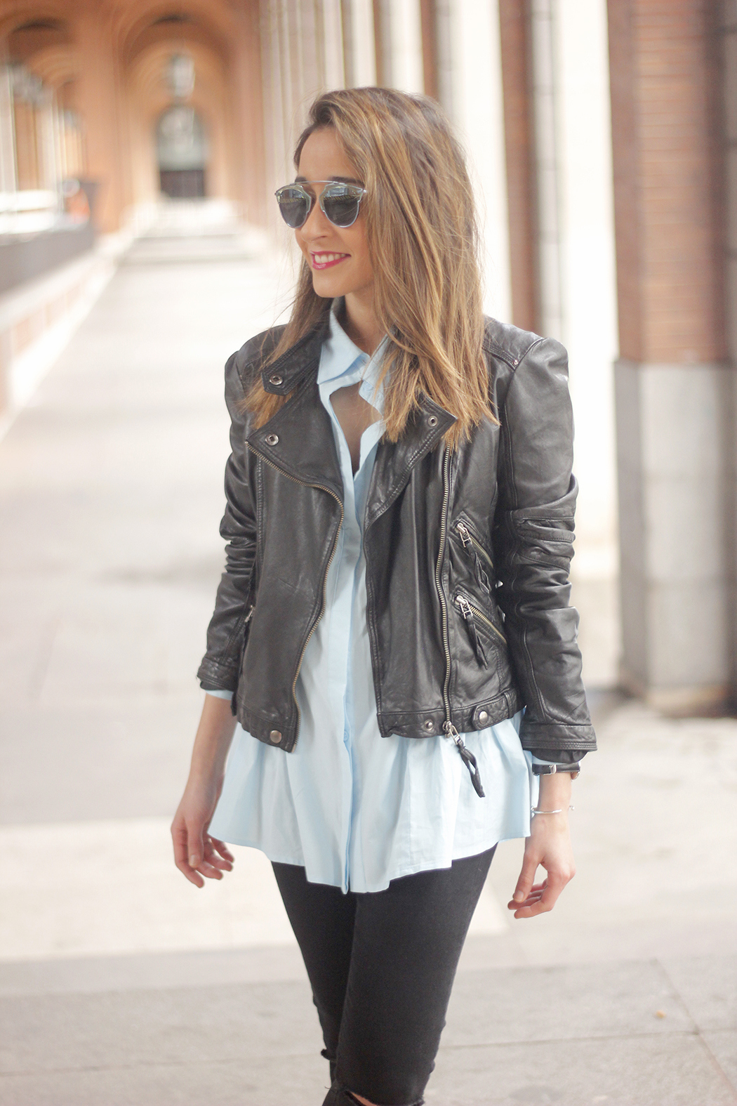 black leather biker black ripped jeans blue shirt outfit streetstyle12