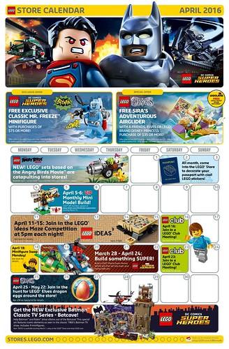 April 2016 LEGO Store Calendar
