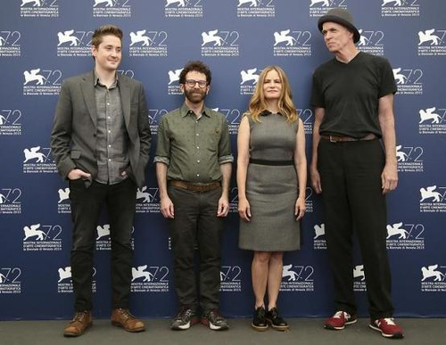 "Directors Johnson and Kaufman pose with cast members Leigh and Noonan during the photocall for the movie ""Anomalisa"" at the 72nd Venice Film Festival, northern Italy"