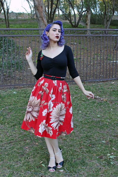 Pinup Girl Clothing Deadly Dames Jailbird Top in Black Red Ruby Vintage Full Skirt