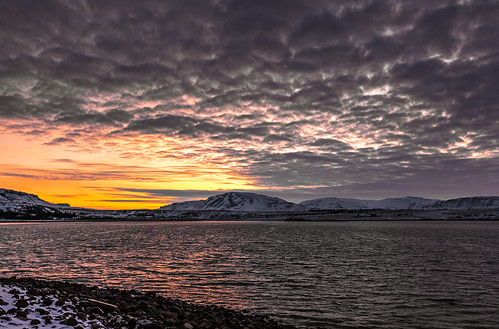 sunset sea sky orange cloud mountain snow water sunrise outdoor fjord kollafjörður