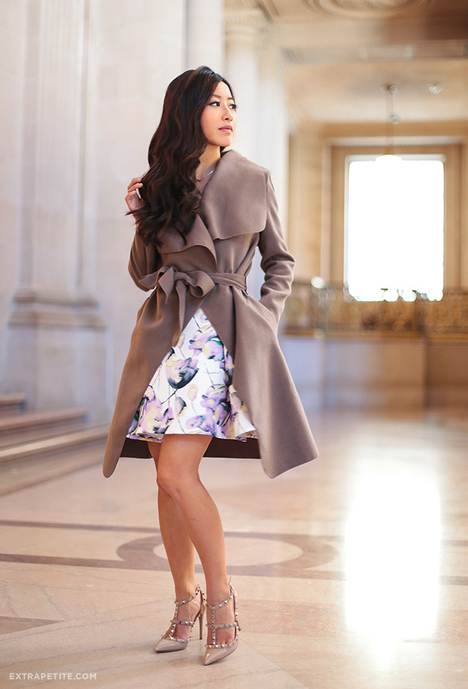 purple lilac floral dress boohoo petite wrap jacket