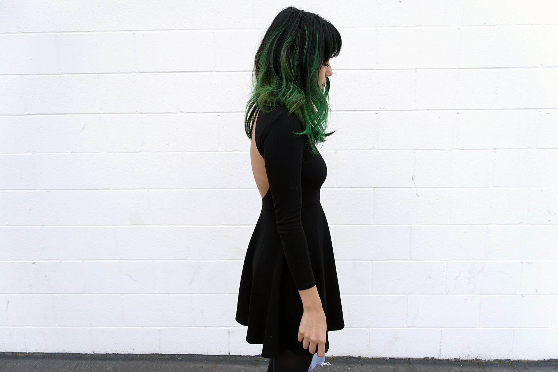 American Apparel skater backless dress, Green hair, Kara lavender powder blue backpack