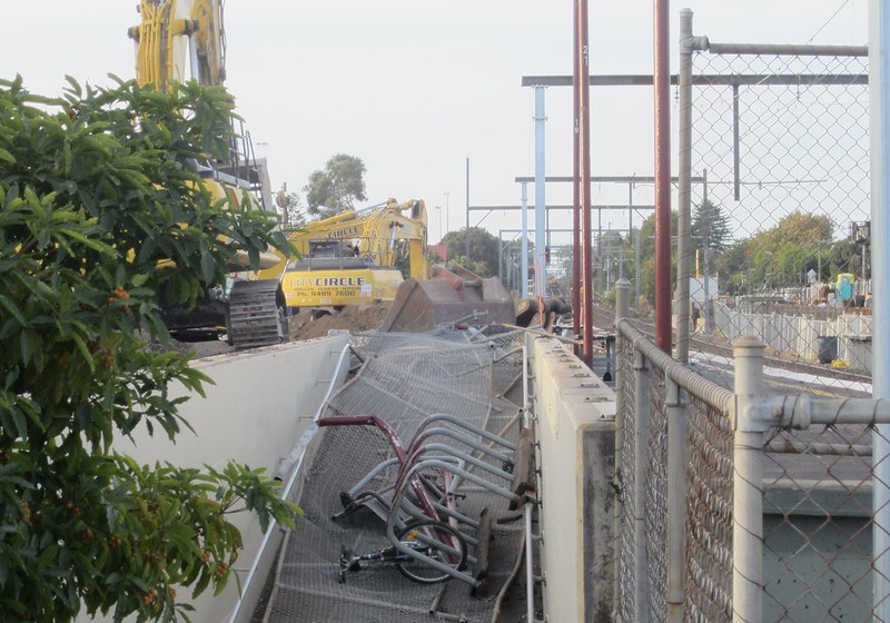 Ormond station ramp - during demolition for level crossing removal