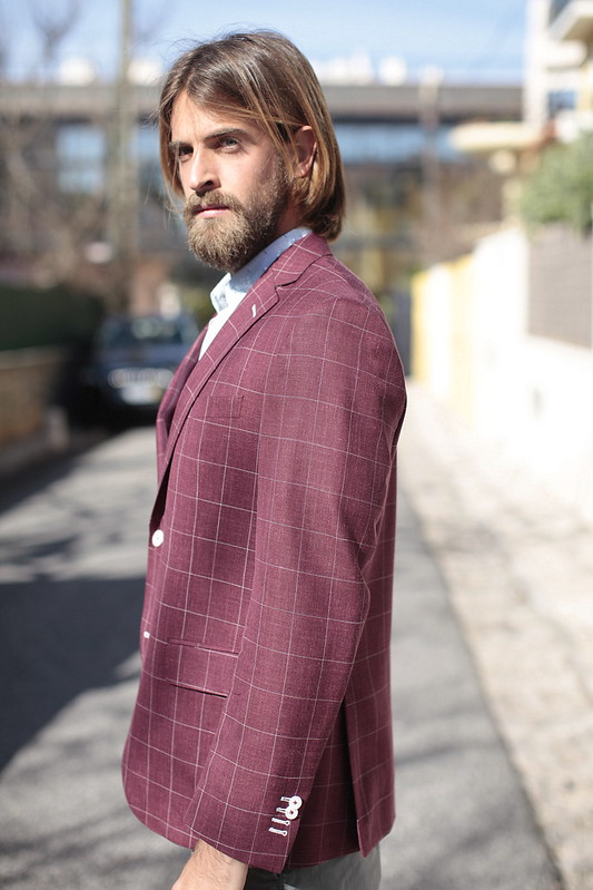 windowpane burgundy blazer 2