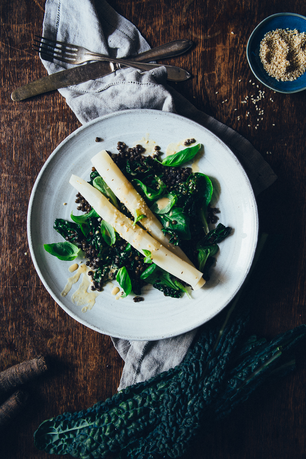 Black Salsify Roots with Beluga Lentils, Sesame Kale & Miso Dressing | Cashew KitchenG_7912