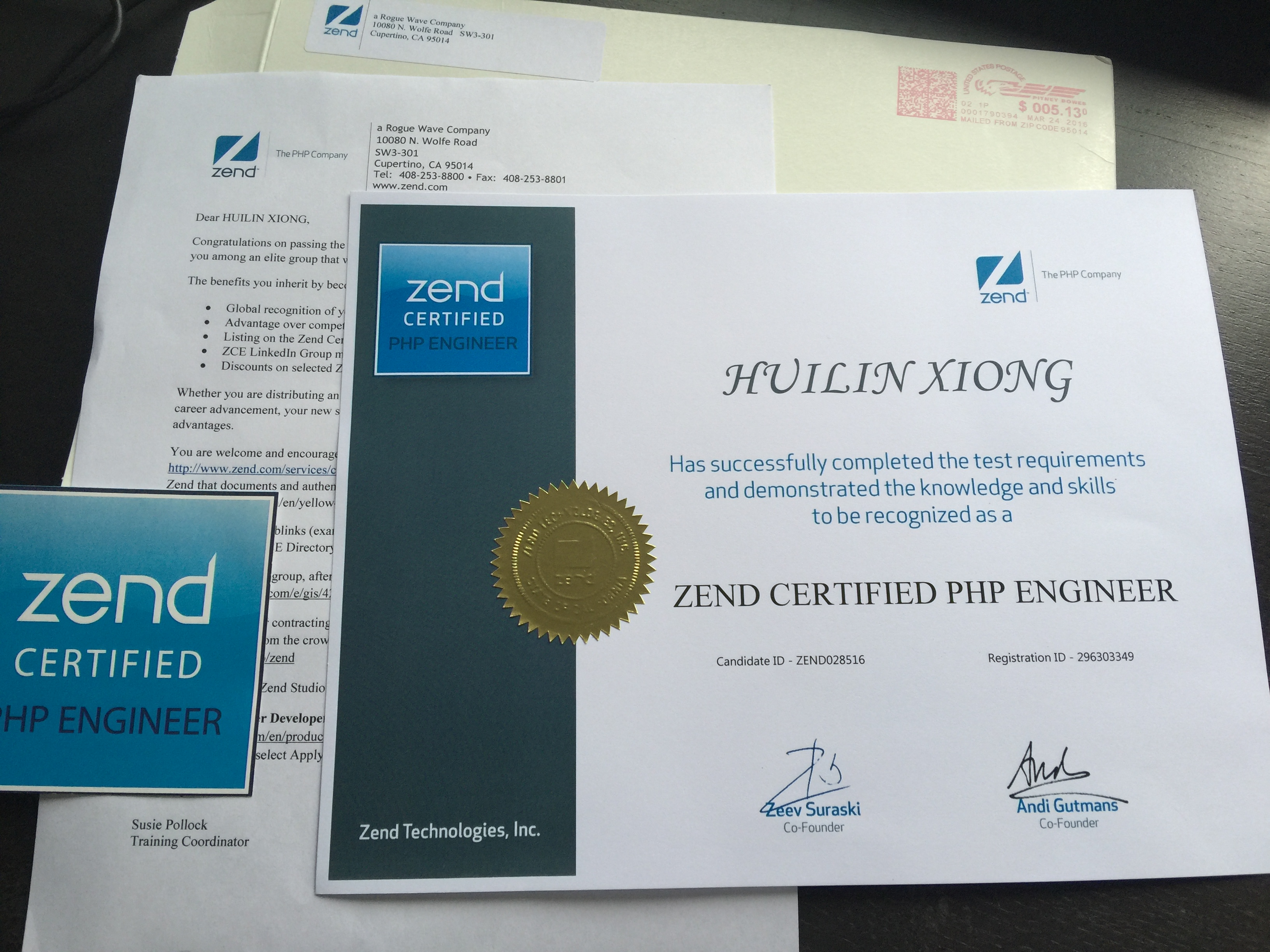 Received Zend Certified Php Engineer Certificate Xiong Hui Lins