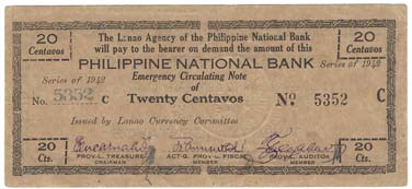 1942 Lanao Agency Emergency Circulating Note front