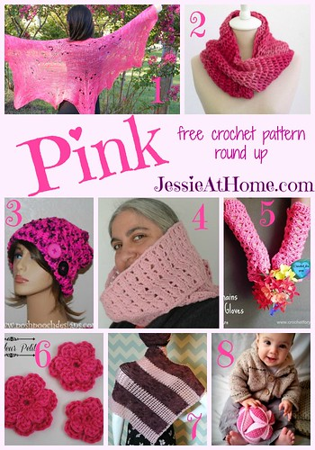 Pink - free crochet pattern round up from Jessie At Home