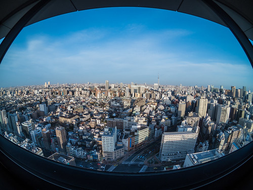 Bunkyo Civic Center observation deck (Tokyo Sky Tree direction in the fish-eye lens #2)