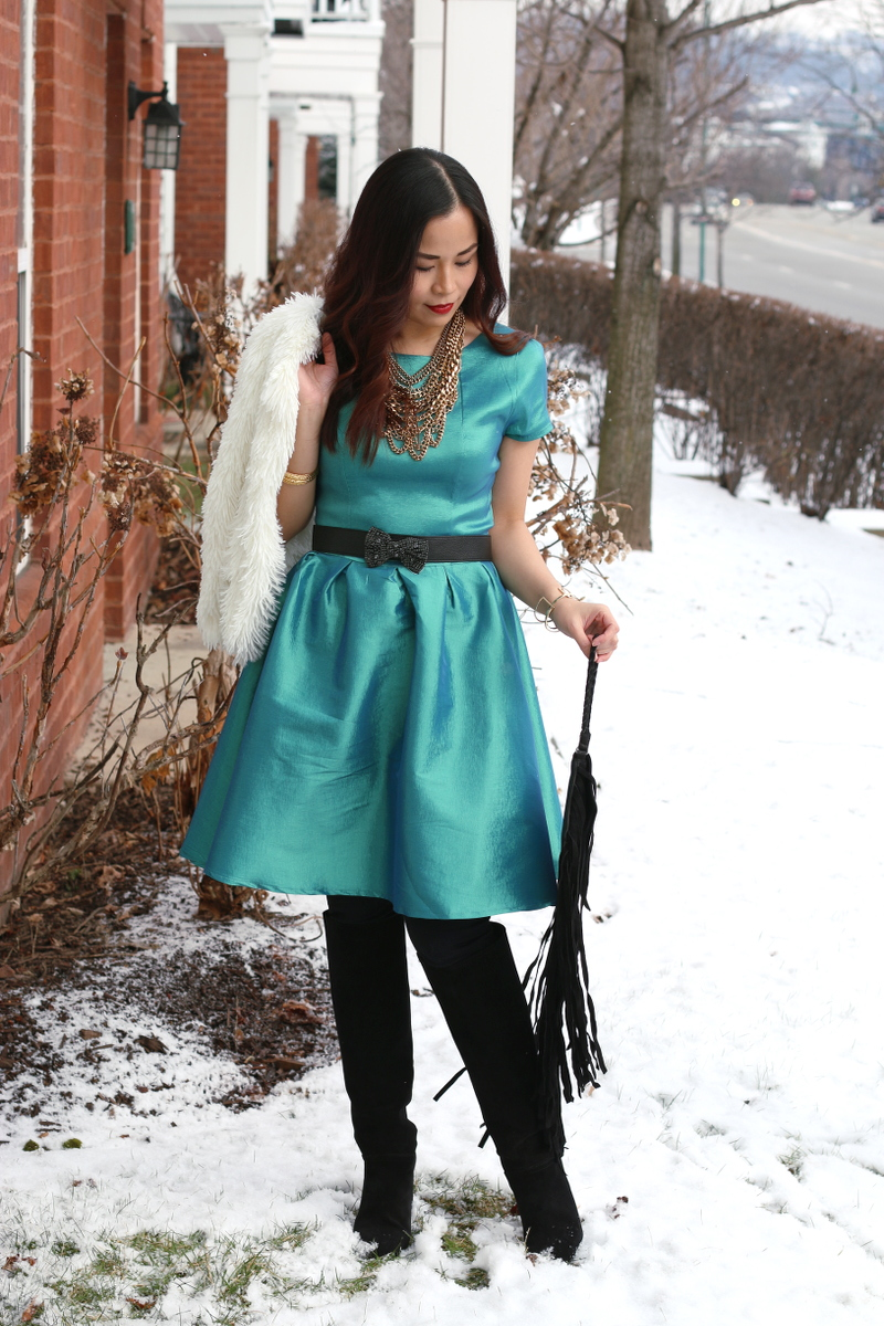 Shabby-Apple-green-dress-suede-boots-4