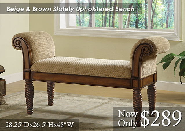 Beige and Brown Stately Upholstered Bench