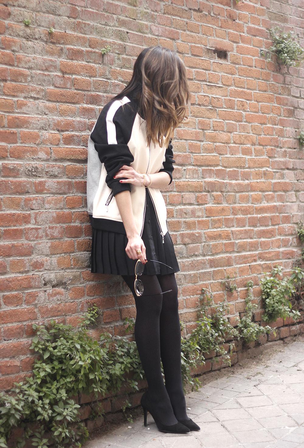 Bomber Mango Black Mango Skirt Black Heels outfit style17