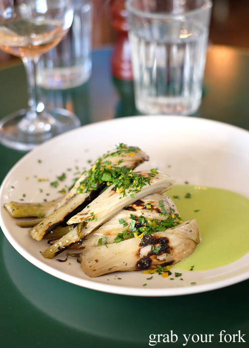 Roasted fennel with green garlic sauce and orange gremolata at 10 William Street, Paddington