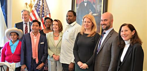 Congresswoman Nancy Pelosi meets Goldman Prize Winners