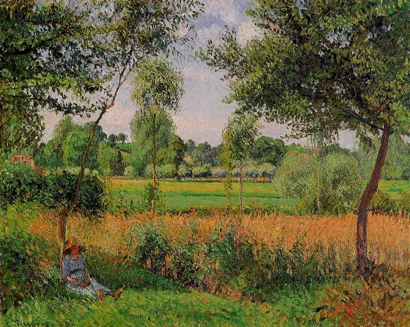 Morning, Sun Effect, Eragny by Camille Pissarro, 1899