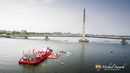 Aerial photography shoot of the coke Island against the lekki-ikoyi link bridge area of Lagos. #drone #ikoyi #ikoyibridge #cocacola #tastethefeeling #cokeisland #badge #water #red #aerialphotography #aerial #landscapephotography #michaelimomohphotography