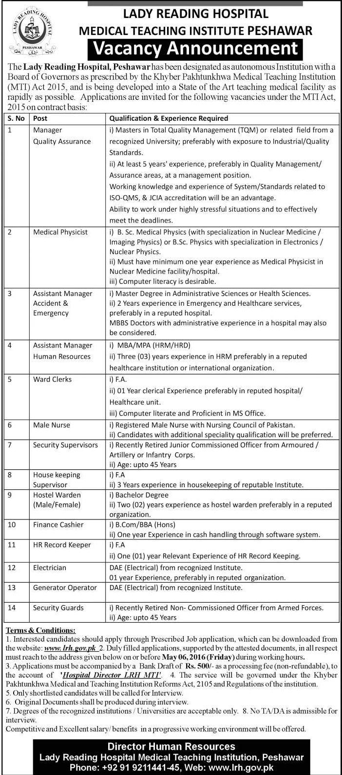 Lady Reading Hospital Peshawar Jobs 2016