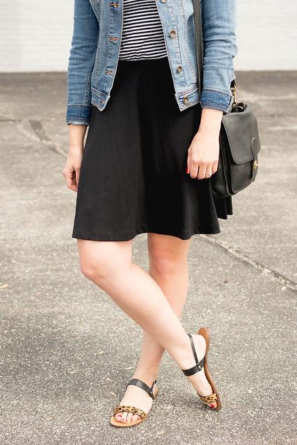 denim jacket + stripe tee + black skirt + leopard print sandals | Style On Target