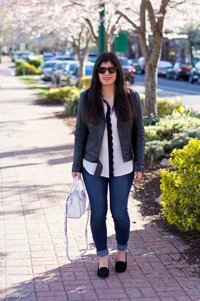 scalloped blouse, leather jacket, denim, white bag.jpg