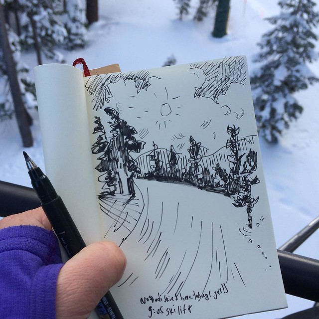 I was almost first one on the chairlift today :) #sketchingwhileskiing #sketchbook #skiing #chairlift
