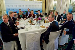U.S. Secretary of State John Kerry sits with United Nations Deputy Secretary-General Jan Eliasson, Russian Foreign Minister Sergey Lavrov, and European Union High Representative for Foreign Affairs Federica Mogherini on February 12, 2016, at the Bayerischer Hof Hotel in Munich, Germany, before a meeting of the Quartet Principals - from the United States, Russia, European Union, and United Nations - on the sidelines of the Munich Security Conference. [State Department photo/ Public Domain]