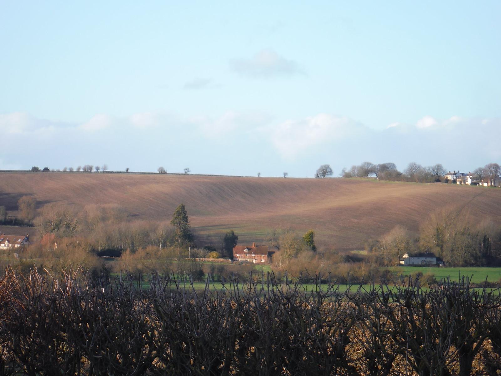 Fieldscape above Nether Winchendon (with footpath at right hand side) SWC Walk 191 Haddenham Circular (via Brill)