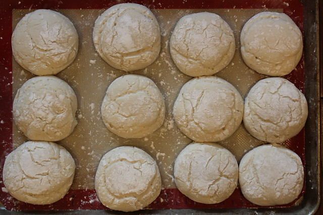 This is what the dough looks like after proofing for approx. 25-30 minutes... Don't over proof them.
