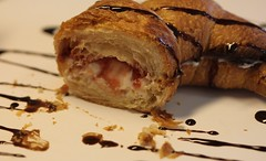 Strawberry Cream Cheese Filled Croissant with Chocolate Drizzle  ~ DELISH