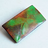 Vintage Mid-Century Enamel on Copper Modernist Brooch - Abstract Green and Brown Design