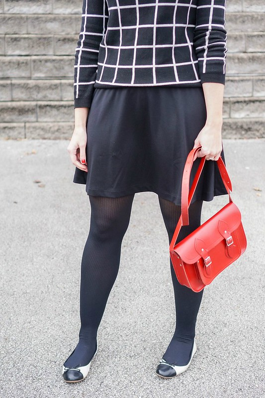 black and white grid print sweater + red purse + black Old Navy skirt + Target ballet flats