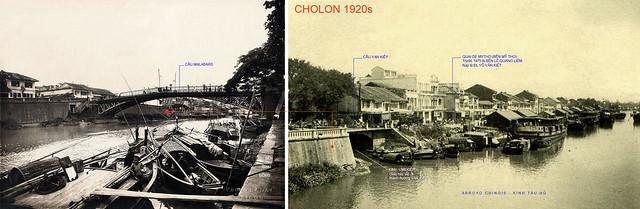 CHOLON 1920s - Cầu Malabars đầu đường Mạc Cửu đi qua Q8 & Cầu Vạn Kiếp trên Bến Mỹ Tho (Quai de Mytho)