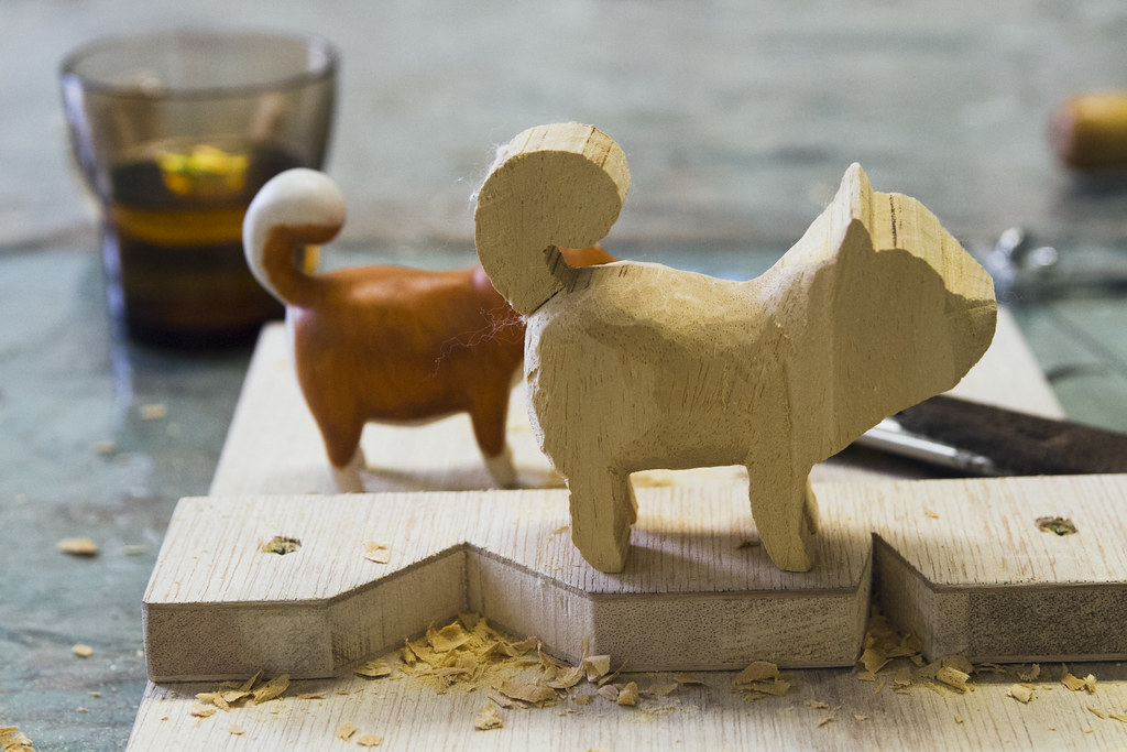 Learning how to carve a shiba   Wood carving class at Nostal