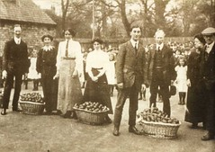 Presenting oranges to the children of Beverley Spencer Street School c.1910 (archive ref DDPD228)