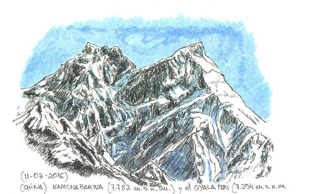 Namchabarwa (7.782 m.s.n.m.) y el Gyala Peri (7.294 m.s.n.m.)
