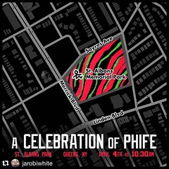 A Celebration of @IAMTHEPHIFER  of @ATCQ Monday April 4th #Queens #NYC @nycparks @qtiptheabstract @alishaheed @jarobiwhite @rcarecords #RIP #PhifeDawg #atribecalledquest #newyork #hiphop #stalbanspark