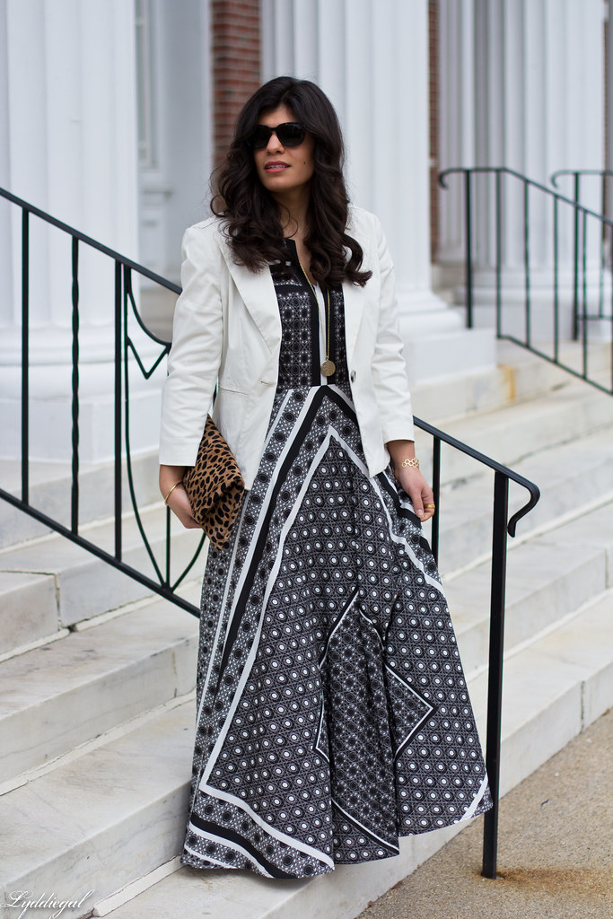 printed maxi dress, white blazer, leopard clutch.jpg