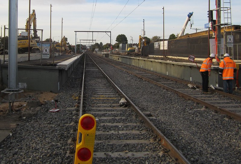 Ormond station platforms 2+3, during level crossing removal works