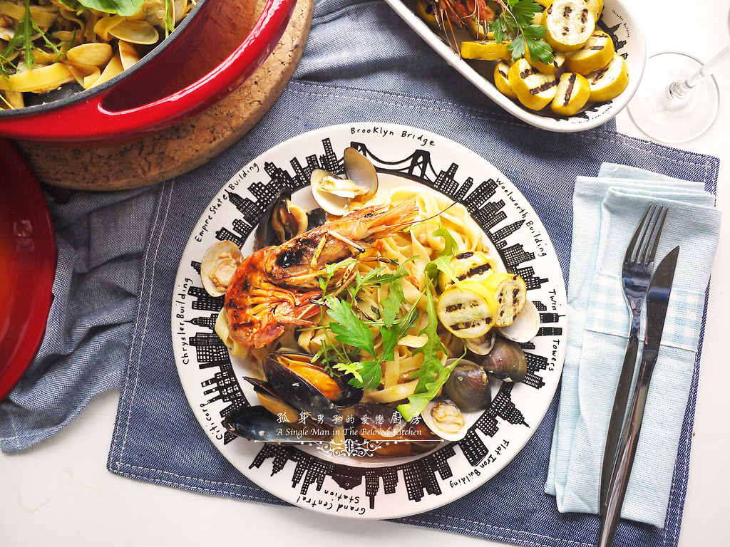 孤身廚房-寶迪鍋一鍋到底茄汁綜合貝類義大利麵佐烤天使紅蝦與櫛瓜32