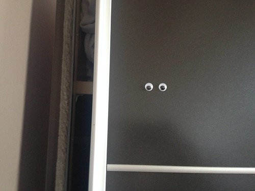 nixie clock and googly eyes