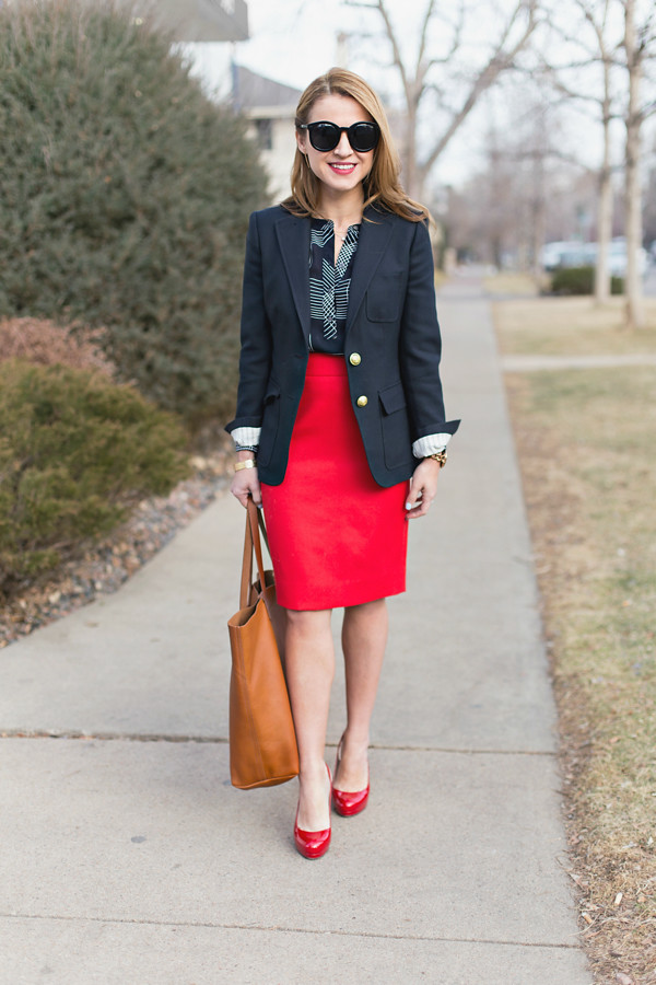 Navy Rhodes blazer + No 2 pencil skirt