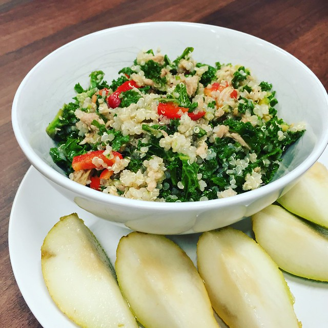 Tuna, Kale and Quinoa Salad with a chopped pear