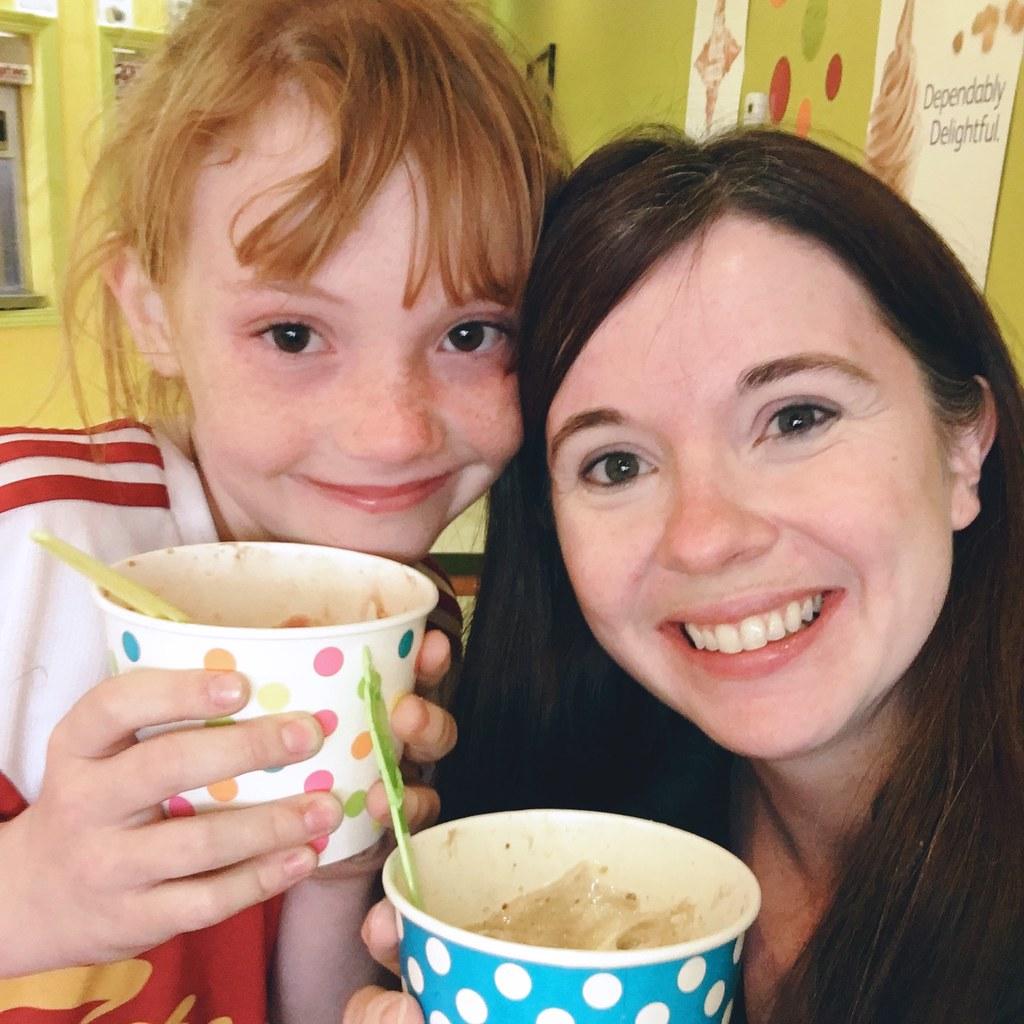 Mother and daughter yogurt trip