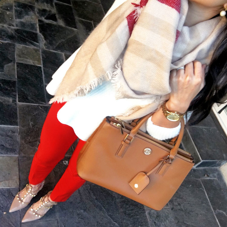 cute & little blog | white peplum top, red sloan ankle pants, studded nude rockstud, tory burch robinson, blanket scarf | winter spring outfit