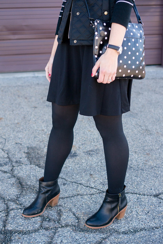 black and white stripes and polka dot mixing, sweater + vest + skirt outfit, Target style blog | Style On Target